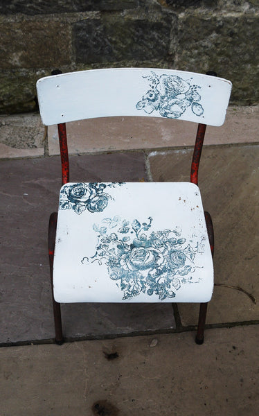 Vintage children's school chair painted in Miss Mustard Seed Milk Paint with blue  rose design