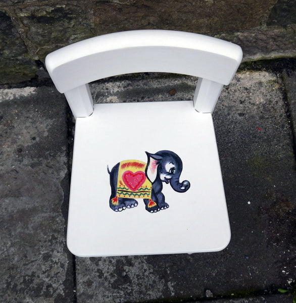 Childs toddler chair painted in Fusion Mineral Paint Casement with retro elephant design