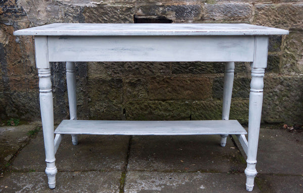 Vintage console table in miss mustard seed milk paint
