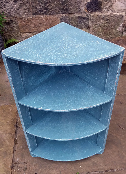 Vintage Corner Shelf Unit in an aged seaworn textured saltwash finish in blue tones