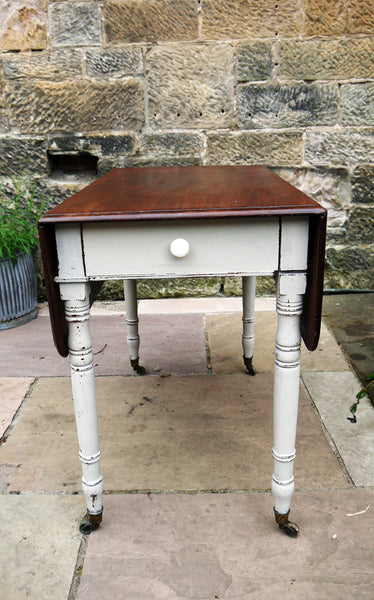 Vintage drop leaf table painted in Miss Mustard Seed Milk Paint Schloss