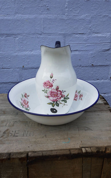 vintage enamel basin and pitcher in  Blue and White with a pretty floral design