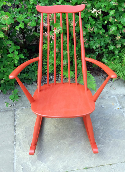 vintage ercol rocking chair painted in fusion mineral paint fort york red