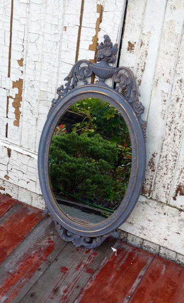 Vintage oval gold mirror now in Miss Mustard Seed Milk paint by Emily Rose Vintage