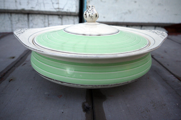 Vintage green and white lidded serving dish from Emily Rose Vintage