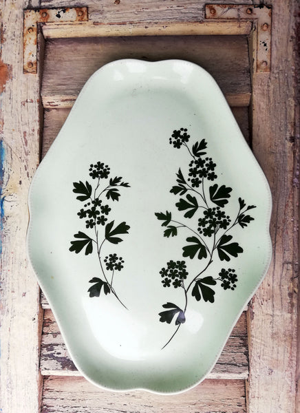 Vintage green ceramic serving platter