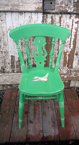 Vintage green painted shabby chic fiddleback chair with white dove decoupage