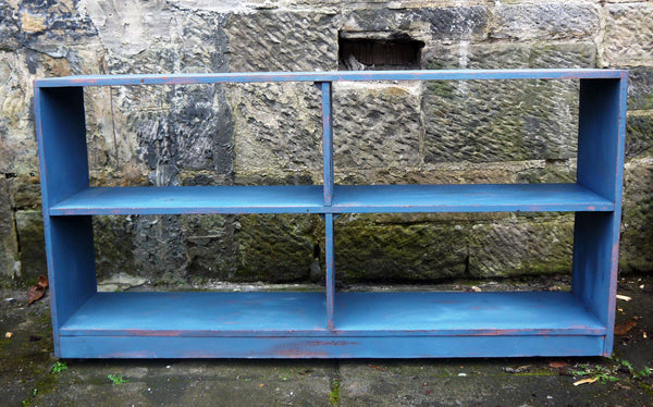 Vintage industrial rustic shelving unit in miss mustard seed milk paint apron strings and flow blue