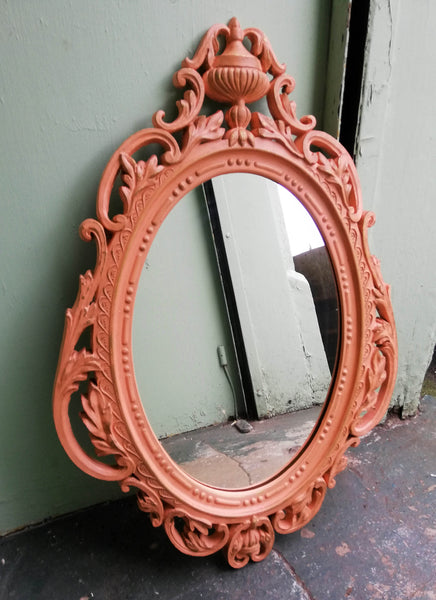Bling ornate 1960's gold mirror updated with fusion mineral paint coral