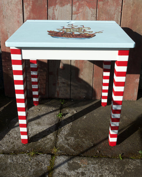 personalised bespoke child's vintage school desk with pirate theme