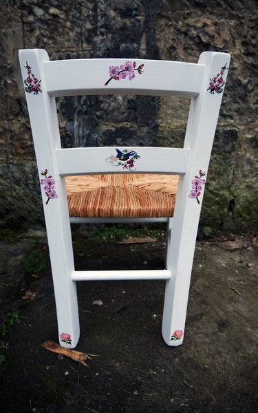 Custom Listing personalised rush seat child's chair with flowers design