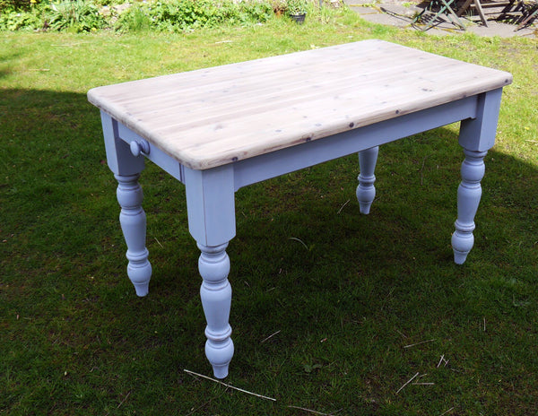 Vintage Pine farmhouse Dining Table with whitewash top and hand painted Louis Blue legs