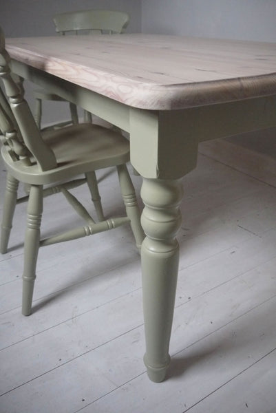 vintage refurbished pine dining table with whitewash top