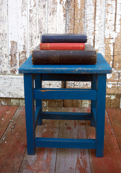 Vintage wooden  school step stool in Miss Mustard Seed Milk Paint Flow Blue