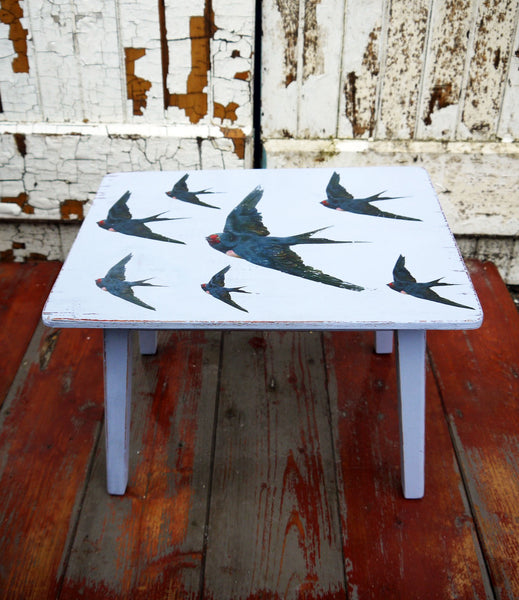 vintage shabby chic side table decoupaged with retro swallow design by emily rose vintage
