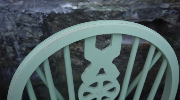 vintage wheelback dining chairs in fusion mineral paint upper canada green