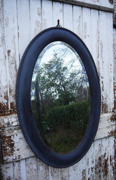 Vintage oval blue mirror in Miss Mustard Seed Milk Paint Artissimo