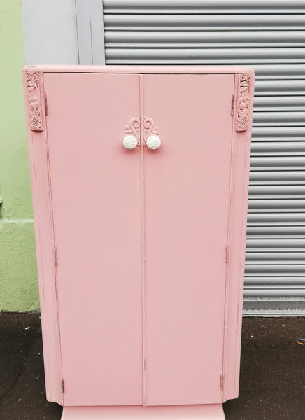 Vintage painted children's wardrobe in pink