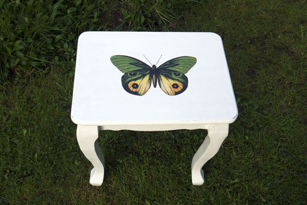 Custom Listing for Susan upcycled coffee table with vintage green butterfly