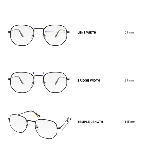 Dimensions of blue light blocking glasses. Lens width 51 mm, bridge width 21 mm, temple length 145 mm.