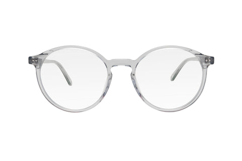 Clear grey blue light blocking glasses with round lenses made from acetate.