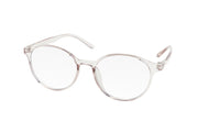 Clear subtle light pink/grey blue light blocking glasses with round lenses made from TR90.