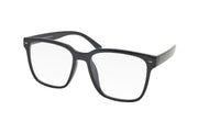 Black oversized square shaped blue light blocking glasses.