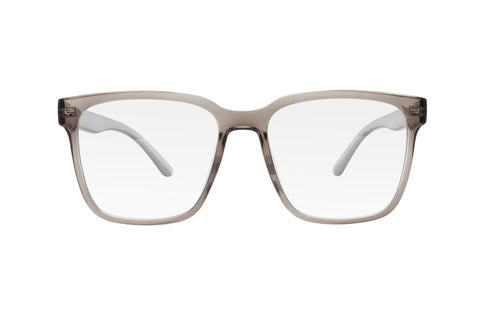 Clear grey oversized square shaped blue light blocking glasses.