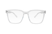 Clear oversized square shaped blue light blocking glasses.