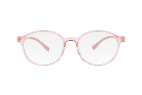Pink round lenses blue light blocking glasses for kids.