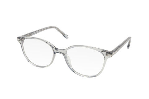 Clear grey women's blue light blocking glasses.