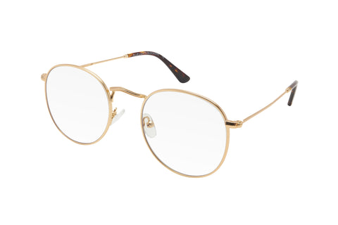Gold metal frame blue light blocking glasses with round lenses.