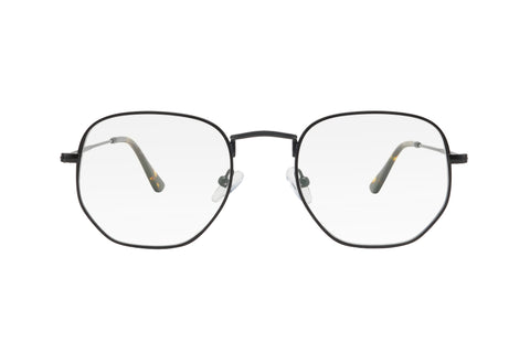 Black metal frame blue light blocking glasses with soft hexagonal shaped lenses.