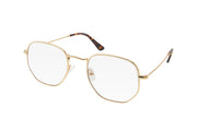 Gold metal frame blue light blocking glasses with soft hexagonal shaped lenses.