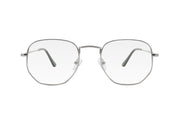 Silver metal frame blue light blocking glasses with soft hexagonal shaped lenses.