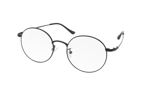Black metal frame blue light blocking glasses with round lenses.