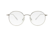 Silver metal frame blue light blocking glasses with round lenses.