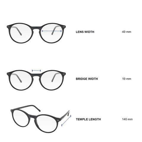 Dimensions of blue light blocking glasses. Lens width 49 mm, bridge width 19 mm, temple length 140 mm.