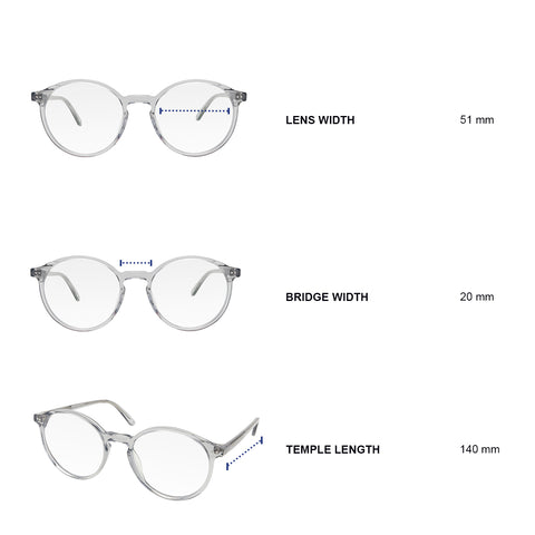 Dimensions of blue light blocking glasses. Lens width 51 mm, bridge width 20 mm, temple length 140 mm.