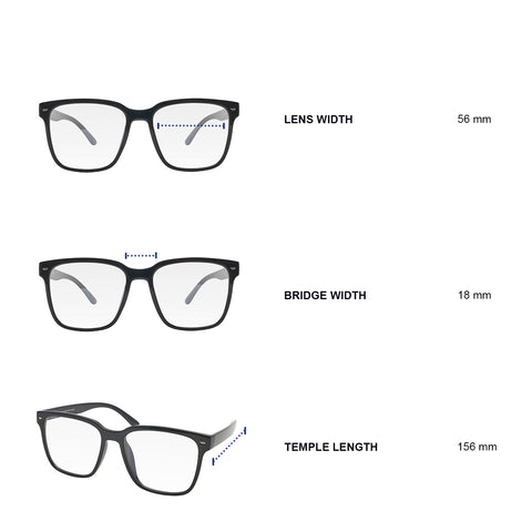 Dimensions of blue light blocking glasses. Lens width 56 mm, bridge width 18 mm, temple length 156 mm.