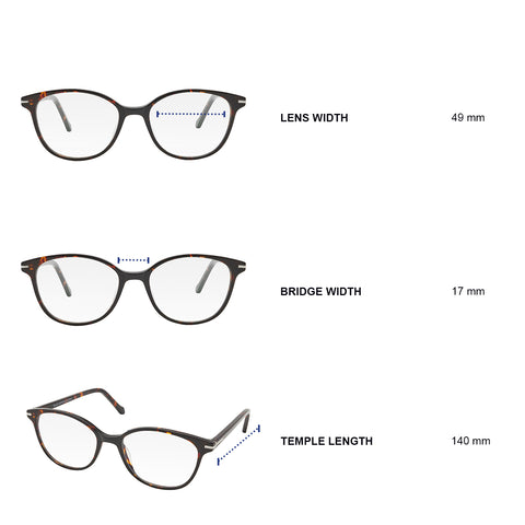 Dimensions of blue light blocking glasses. Lens width 49 mm, bridge width 17 mm, temple length 140 mm.