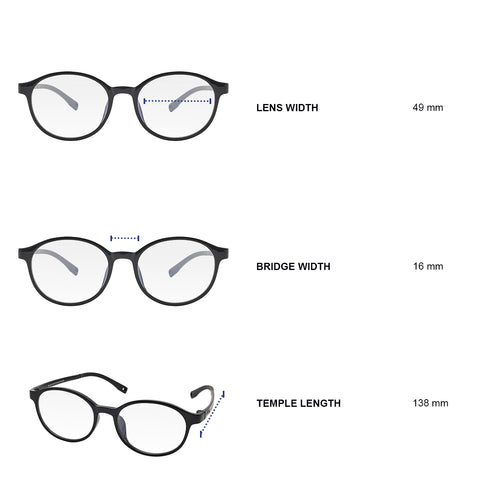 Dimensions of blue light blocking glasses. Lens width 49 mm, bridge width 16 mm, temple length 138 mm.