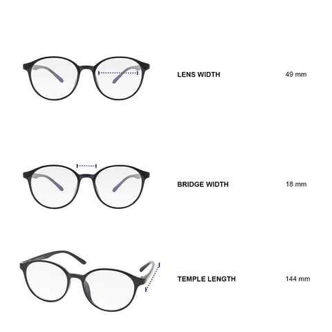 Dimensions of blue light blocking glasses. Lens width 49 mm, bridge width 18 mm, temple length 144 mm.