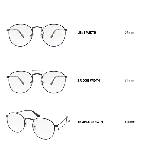 Dimensions of blue light blocking glasses. Lens width 50 mm, bridge width 21 mm, temple length 145 mm.