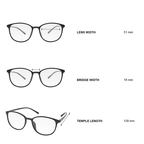 Dimensions of blue light blocking glasses. Lens width 51 mm, bridge width 18 mm, temple length 139 mm.