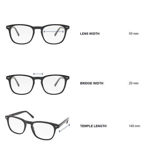 Dimensions of blue light blocking glasses. Lens width 50 mm, bridge width 20 mm, temple length 140 mm.