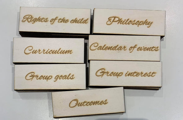 Set of 7 (activity/goals/outcomes) signs - Tiny Memories Laser