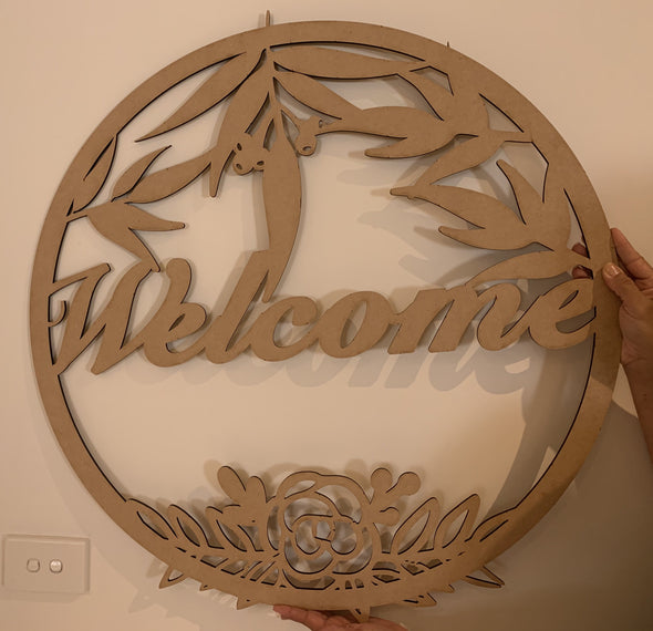 Welcome sign - eucalyptus gum nuts and leaves - circle design - Tiny Memories Laser