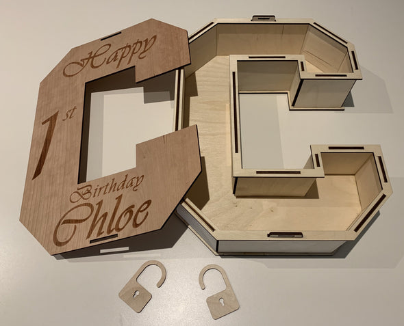 Alphabet letter box for gifts - Tiny Memories Laser
