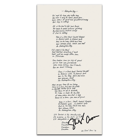 Autographed Redemption Day Lyric Sheet Certificate of Authenticity